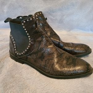Zara Studded Animal Print Chelsea Ankle Boots Size 39/ US 8-8.5